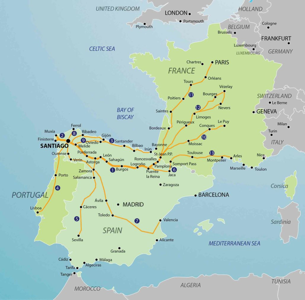 Map Of Spain Portugal And France.Camino Routes Camino Guidebooks Village To Village Guides